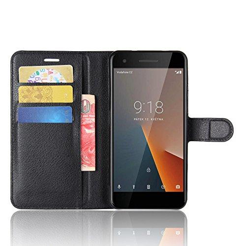 COVO® PU+TPU Faux Cuero Billetera Funda + 1 Protector de Pantalla de Cristal para Vodafone Smart V8 con Stand Función(Negro) Negro