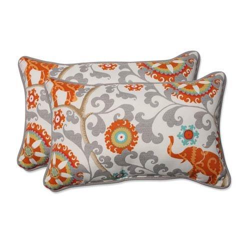 Pillow Perfect Outdoor/Indoor Menagerie Cayenne Rectangular Throw Pillow (Set of 2)
