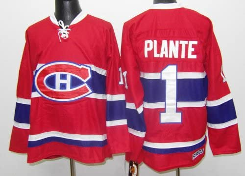 80310a7d691 clearance amazon jacques plante jersey montreal canadiens 1 throwback jersey  hockey jersey 52 xl sports outdoors