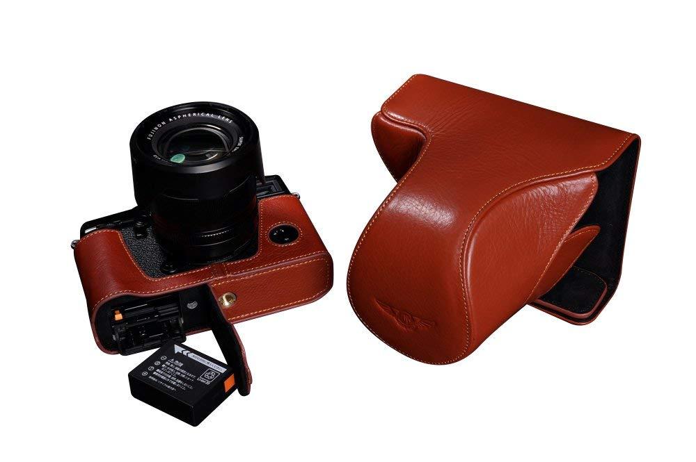 富士フイルム X-PRO2 用本革レンズカバー付カメラケース(18-55mm用) (電池,SDカード交換可) ブラウン B07SLPWRMX カメラケース&ストラップTP1881&バッテリーケース FreeSize