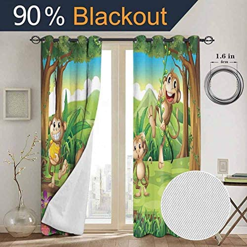 SONGDAYONE Tropical Animals Blackout Curtain Panels Window Digital Dot Featured Monkey Face Portrait Little Geometrical Rounds Print Daily use W84 x L96 Inch Tan Brown