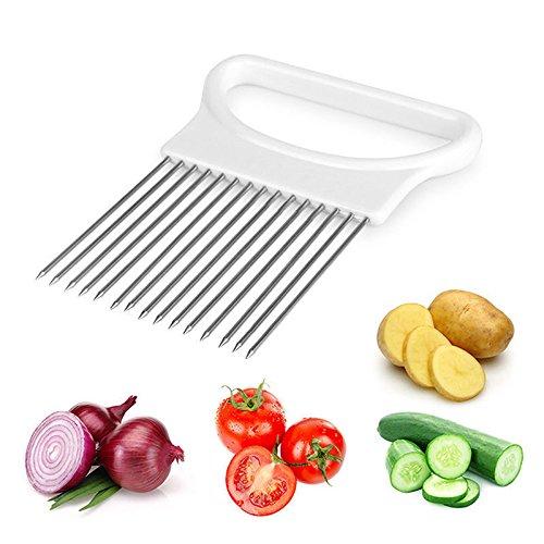 SmarketBuy Kitchen Gadget Stainless Steel Easy Onion Holder Slicer