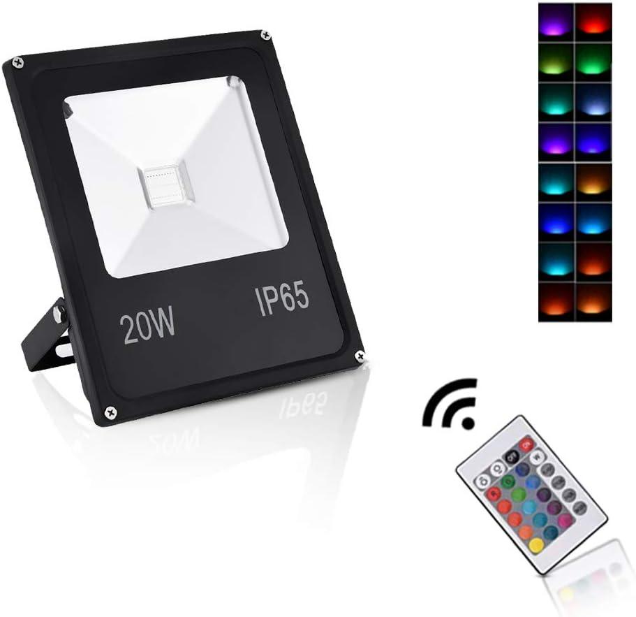 Sararoom 20W Foco LED RGB,IP65 focos led exterior,16 Colores ...