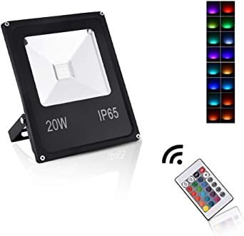 Sararoom 20W Foco LED RGB,IP65 focos led exterior,16 Colores ...