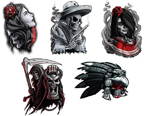Black & Red Waterproof Temporary Tattoos Set of 5 pcs - Aztec Warrior Skull | Reaper | Senorita - Hands Shoulders Chest Temporary Tattoo Body Sticker For Men Women