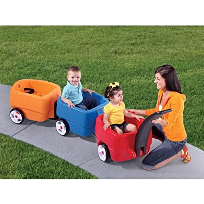 Step2 Push Wagons for Toddlers with Long Handle, Seat Belts and Molded-in Drink Holder - Durable Plastic Lightweight Ride-On Car Toys - Kids Choo Choo Train and Trailer Combo with Storage from STEP2