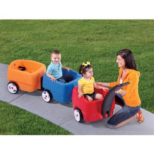 (Step2 Push Wagons for Toddlers with Long Handle, Seat Belts and Molded-in Drink Holder - Durable Plastic Lightweight Ride-On Car Toys - Kids Choo Choo Train and Trailer Combo with Storage)