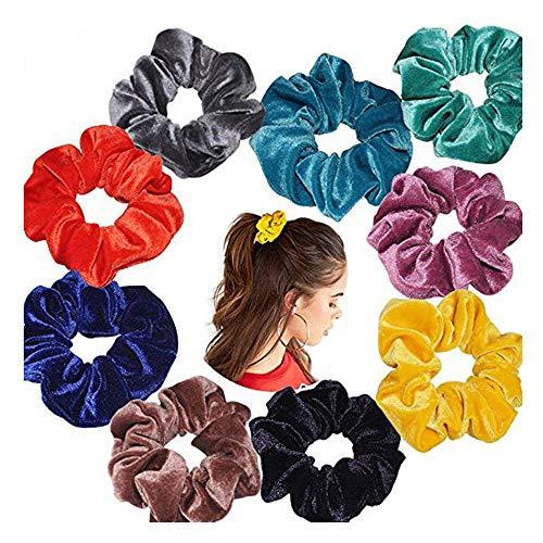 (✧Oufenli✧20/15/9 Pcs Hair Scrunchies Velvet Elastic Hair Bands Scrunchy Hair Ponytail Holder for Women or Girls Hair Ties Accessories (9PC, C))