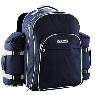 Icemax Cool Bag Insulated Picnic Backpack with Six Person Picnic Set