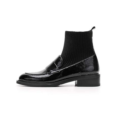 YAN Botines para Mujer Otoño Invierno Botines Zapatos de tacón áspero británico Temperamento Retro Calcetines Botas