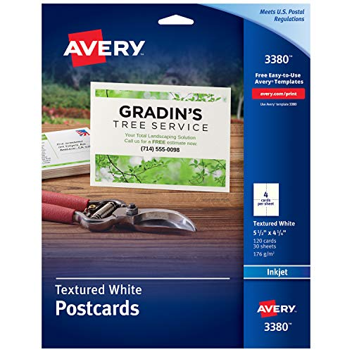 Avery Printable Cards, Inkjet Printers, 120 Cards, 4.25 x 5.5, Heavyweight, Textured (3380) ()
