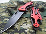 Cheap Tac-force Assisted Opening Linerlock Belt Clip Red Fire Fighter A/o Speed Rescue Glass Breaker Knife