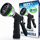 Best Garden Hose Nozzle (HIGH PRESSURE TECHNOLOGY) - 8 Way Spray Pattern - Jet, Mist, Shower, Flat, Full, Center, Cone, and Angel Water Sprayer Settings - Rear Trigger Design - Steel Chrome Design ()