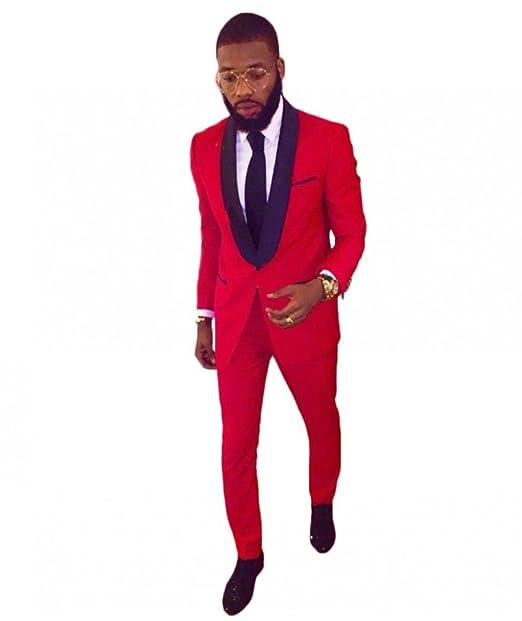 Men\u0027s Shawl Lapel Red Wedding Suits for Men 2 Pieces Slim Fit Groom Tuxedos  Prom Suit