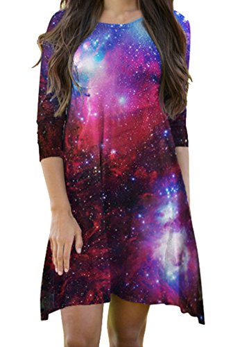 Flared Sleeves Dress Mini - Fashion Juniors 3/4 Sleeve Galaxy Print Mini Skater Flared Dresses