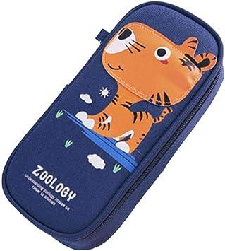 JUNGEN Lindo Estuche con Dibujo de Tigre Estuche de Lápices Caja de Pluma con Gran Capacidad Estuche de Nylon Creativo para Estudiantes 21 * 9 * 5 cm(Azul Oscuro): Amazon.es: Oficina y papelería
