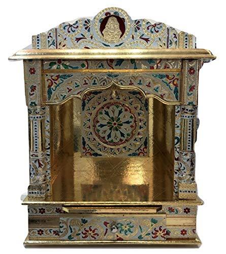 Desi Bazar Meenakari Wooden Pooja Mandir for Home Daily Puja/Aarti/ Altar Temple Golden - 19 Inches No Doors