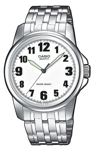 Casio Mtp-1260D-7Bef Gents Watch Quartz Analogue White Dial Silver Steel Strap