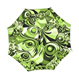 Double Layer Inverted Abstract Retro Green Form Fractal Chaos Chaotic Umbrellas Reverse Folding Umbrella Windproof Uv Protection Big Straight Umbrella For Car Rain Outdoor With C-shaped Handle
