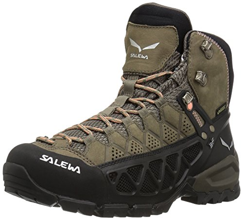 (Salewa Women's ALP Flow MID GTX-W Mountaineering Boot Walnut/Peach Coral 8.5 D US)