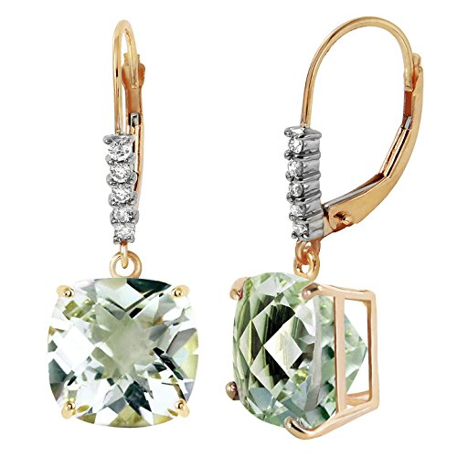 7.35 CTW 14k Solid Gold Natural Diamonds and Green Amethyst Leverback Earrings