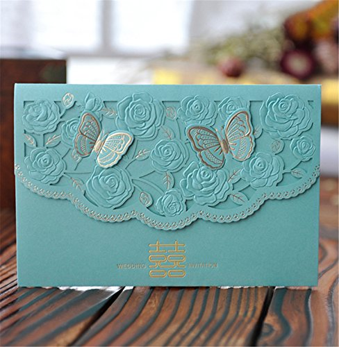 - Skyseen 25Pcs Chinese Double Happiness Laser Cut Hollow Out Floral Design Wedding Invitation Card(Blue)