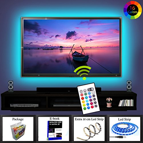 """Price comparison product image Tv Led Backlight RGB 16 Changing Colors Waterproof Led Lighting 2m Strip Set 3M Adhesive Tape For 40"""" to 60"""" HDTV Screen With Remote Control By IB TECH Additional 30cm Strip Included World's 1 Tv Kit"""