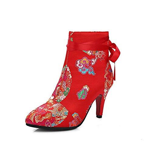 AllhqFashion Damen Hoher Absatz Weiches Material Gemischte Farbe Reißverschluss Stiefel, Blau, 40
