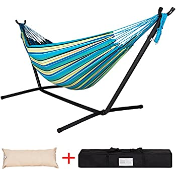 lazy daze hammocks double hammock with space saving steel stand includes portable carrying case and head pillow 450 pounds capacity  oasis stripe  amazon     vivere double hammock with space saving steel stand      rh   amazon
