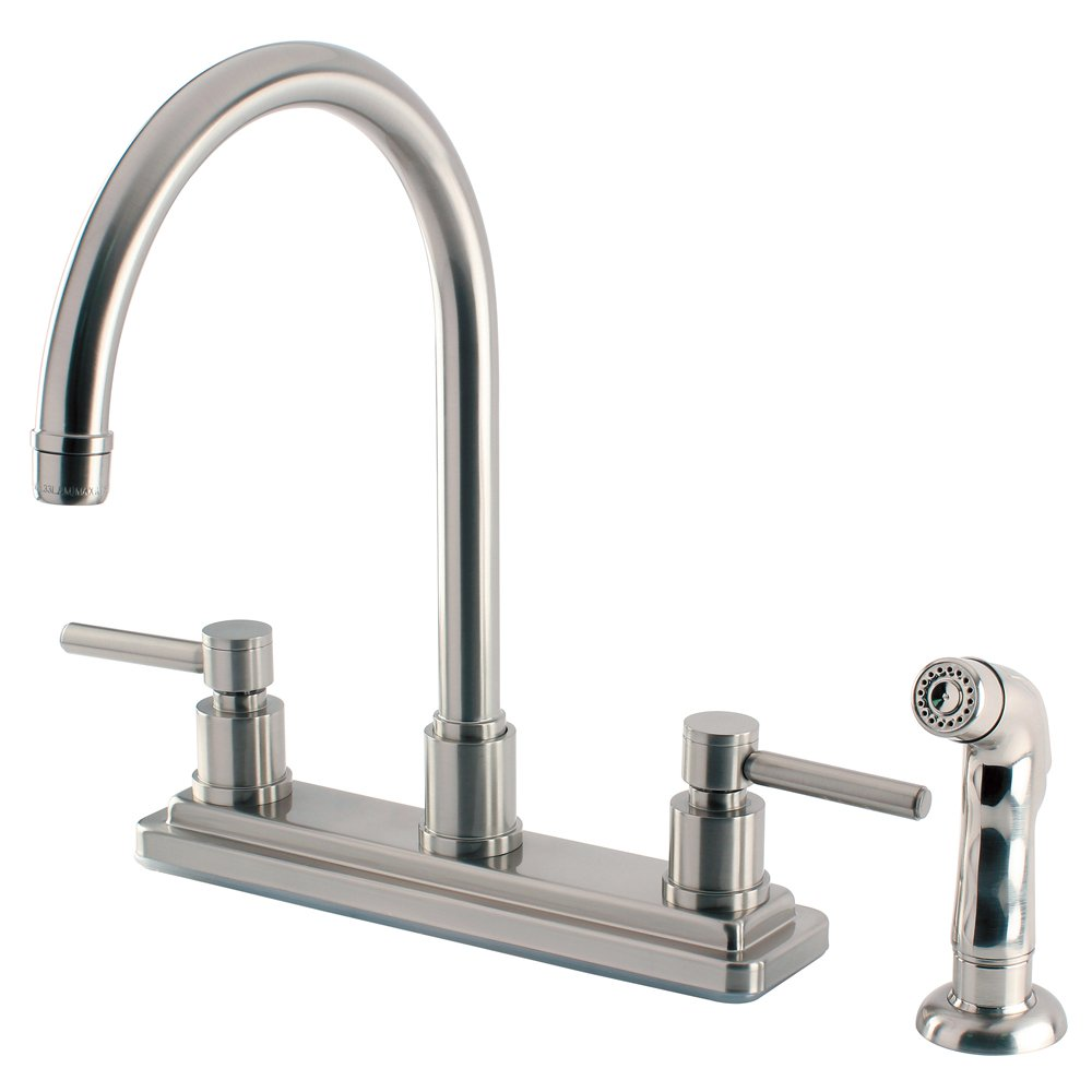 "Elements of Design ES8798DL South Beach 2-Handle Kitchen Faucet with Non-Metallic Sprayer, 8"", Satin Nickel"