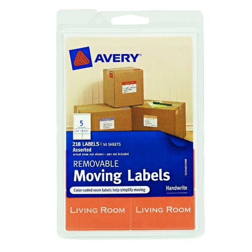 Avery Removable Moving Labels, Assorted Sizes and Colors, Pack of 218 (40219)
