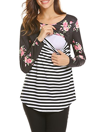 SE MIU Women's Breastfeeding Shirt Long Sleeve Maternity Breastfeeding Nursing...
