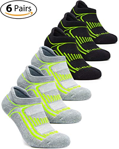 (TSLA Men's 6-Pairs Atheltic No Show Socks Cushioned Comfort w Mesh, No Show Active(mzs05) - Black & Grey Neon Line, Small (Youth~4.5))