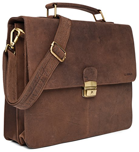 LEABAGS Miramar Briefcase of Genuine Buffalo Leather in Vintage Look - Muskat by LEABAGS (Image #2)