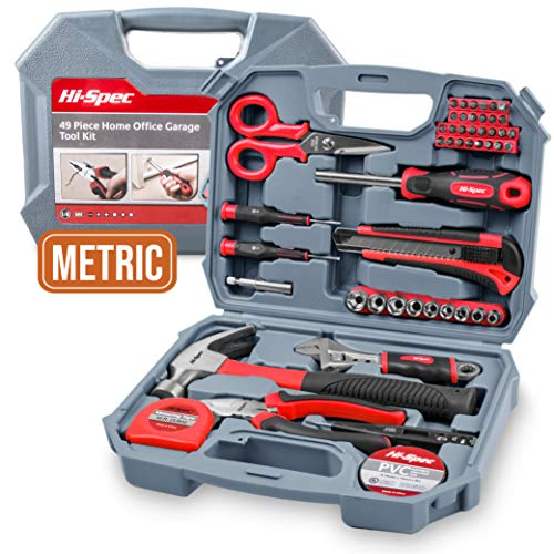 Garage & Home Tool Kit, Hi-Spec DT30117, with Claw Hammer, Adjustable Wrench, Metric 1/4