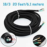 18/3 20Ft Vintage Electrical Wire Rayon Covered Lamp Cord Braided Black 18 AWG 3 Conductor Flexible Fabric Pendant Lighting Power(10A)