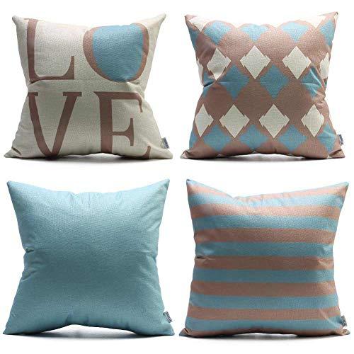 DANLIA Decorative Throw Pillow Case Set of 4 18x18, Argyle Strip Grid Solid Blue Coffee Natural Cream Elegance Love GeometricLinenCushion PillowCover