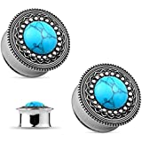Pair of Turquoise Tribal Shield Top Double Flared Ear Plug Gauges Piercings - 11 Sizes Available (6mm - 2GA)