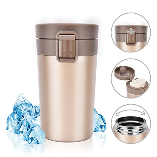 Stainless Steel Insulated Travel Coffee Mug, Rainbrace Double Wall Insulated Coffee Mug Travel Mug Cup Water Bottle Wide Mouth With One Hand Flip Lid 300 ml/10 oz Keep Hot or Cold for Hours(Gold)