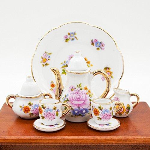 Chintz Flowers (Odoria 1:6 Miniature 8PCS Porcelain Tea Cup Set Pink Flower Chintz with Gold Trim Dollhouse Kitchen Accessories)