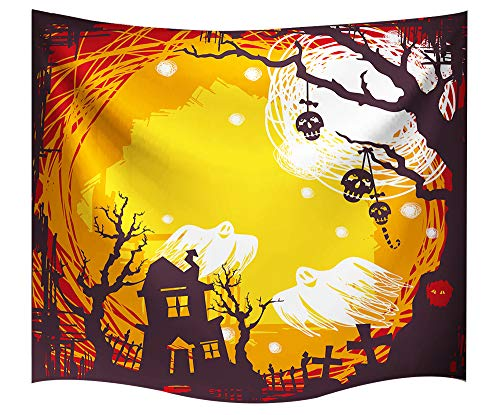(Halloween Decorations Tapestry Wall Hanging by IMEI, 3D Print Yellow Fabric Holiday Party Wall Art Hanging Beach Cover for Living Room Office Dorm and Bedroom (51 X 60 Inch, Halloween)