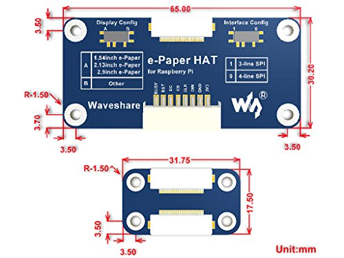 5.83inch E-Paper Display Hat Module 600x448 E-Ink Electronic Paper Screen Two-Color Black/White Compatible with Raspberry Pi Zero/Zero W/Zero WH/2B/3B/3B+ by waveshare (Image #5)