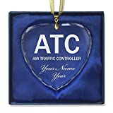 Heart Crystal Christmas Ornament - ATC Air Traffic Controller - Personalized Engraving Included
