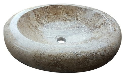 Oval Natural Stone Vessel Sink - Noce Travertine ()