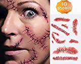 Onyle Horror Realistic Fake Bloody Wound Stitch Scar Scab Waterproof Temporary Tattoo Sticker Halloween Masquerade Prank Makeup Props-10 Pcs