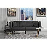 Sofamania Mid Century Modern Plush Tufted Linen Fabric Living Room Sleeper Futon (Dark Grey)