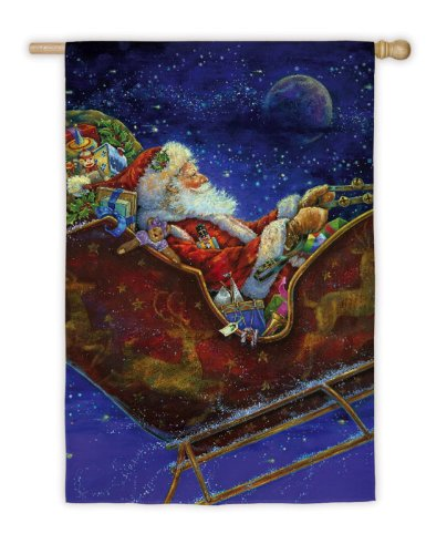 Regular Sized Silk Reflections Flag: Santa in Sleigh