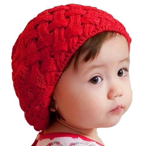 LOCOMO Baby Infant Boy Girl Knit Beanie Crochet Rib Pom Hat Cap Red (Cheap Hats For Sale)