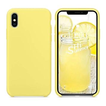 coque iphone xs jaune silicone