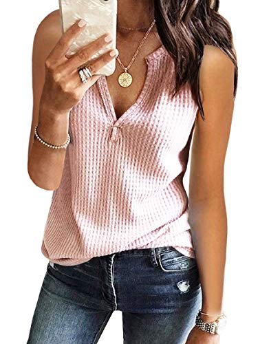 Womens Tank Tops V Neck Waffle Knit Summer Casual Sleeveless Loose Tee Shirts Pink